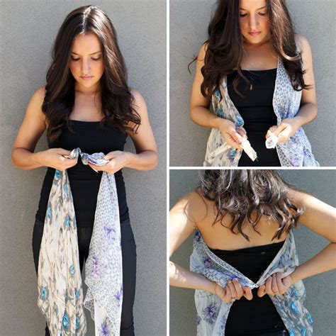 how to drape a scarf around your neck 10 ways to turn a scarf into a vest brit co