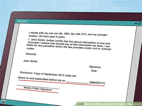 Proof Of Residency Letter With Notary how to write a letter for proof of residence with sle