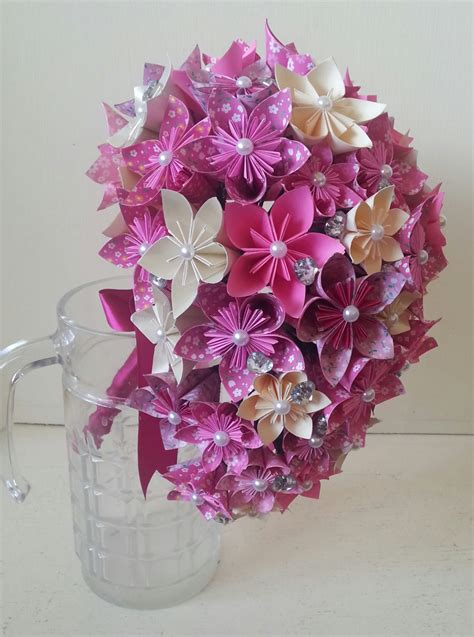 Origami Paper Flowers Wedding - paper flower origami bouquet wedding crystals cascade tear