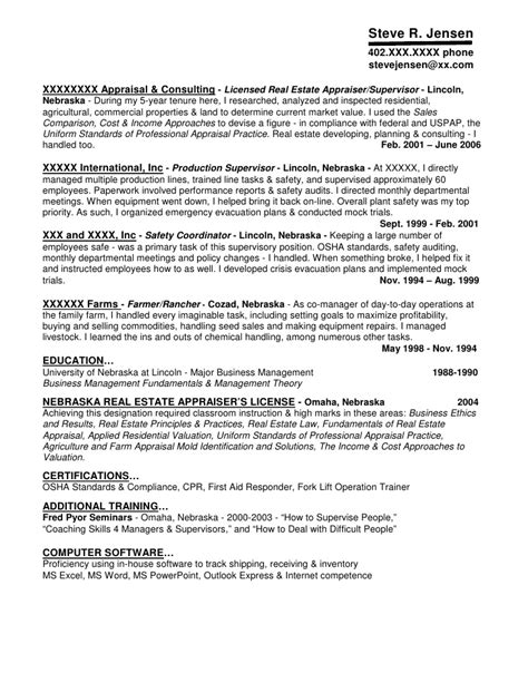 Review Appraiser Sle Resume by Residential Appraiser Resume 28 Images Resume Sle 3 Real Estate Appraiser Resume Sles