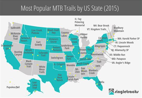 most best most popular mountain bike trails by us state 2015