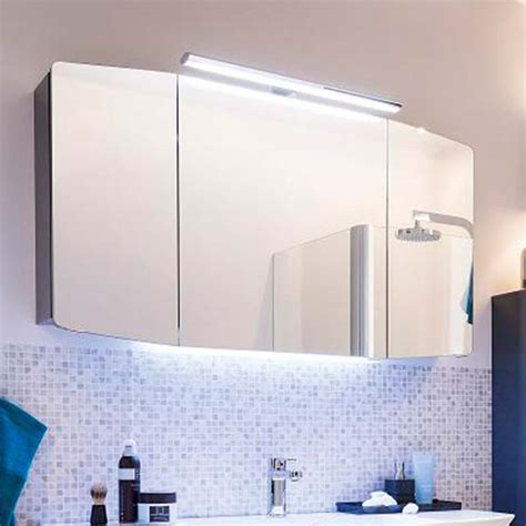 cassca bathroom mirror unit with top light 3 doors with