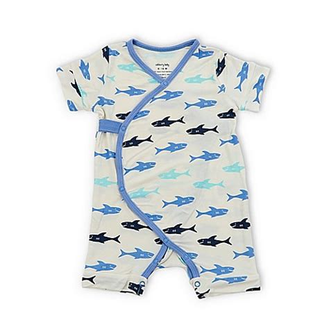 Romper Baby Shark silkberry baby 174 shark sleeve kimono romper in white
