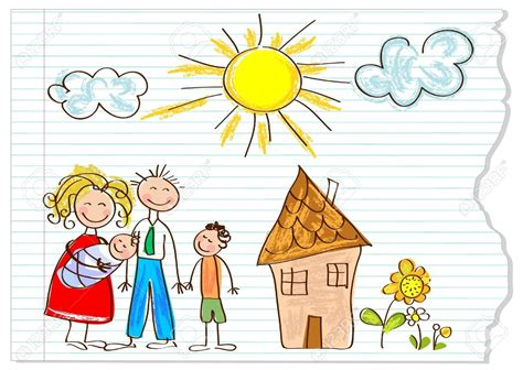 12826217 Children Drawing Happy Family On A Peace Of Paper Stock Vector Child Jpg 1300 215 924 Children Drawing Picture