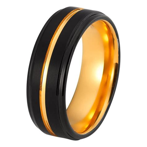 Tungsten Ring Wedding by Mens Yellow Gold Wedding Band Tungsten Wedding Rings