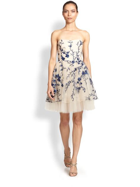 marchesa notte strapless floral embroidered cocktail dress