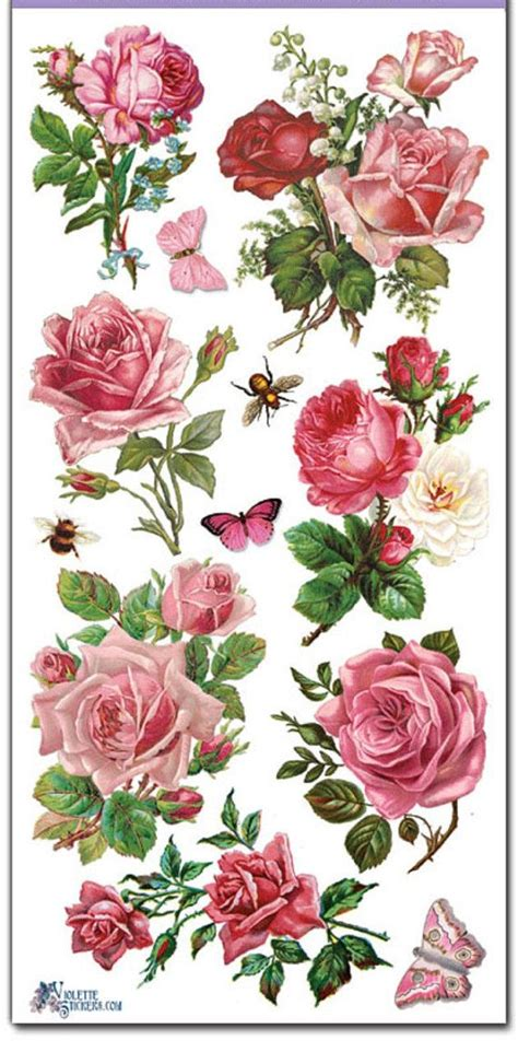 Decoupage Roses - stickers pink roses decoupage collage mixed media
