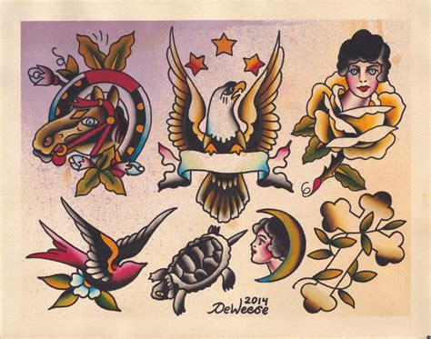 watercolor tattoo flash original watercolor traditional flash painting of