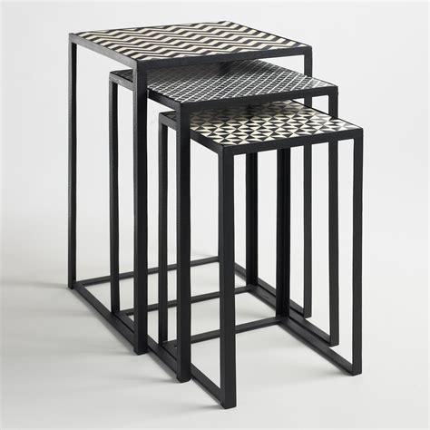 market nesting tables black and white square nesting tables set of 3 market