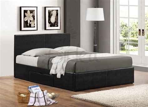Leather Bed Frame With Drawers Birlea Berlin 5ft Kingsize Black Faux Leather Bed Frame With Drawers By Birlea