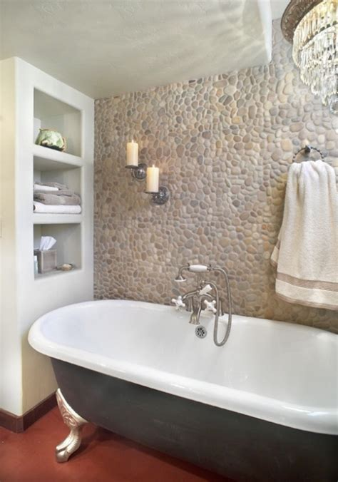 river stone bathroom river rock wall in bathroom home pinterest