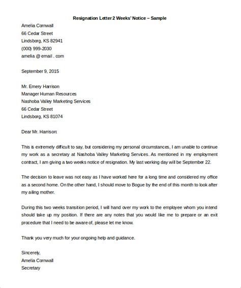 sle resignation letter 2 weeks notice email docoments