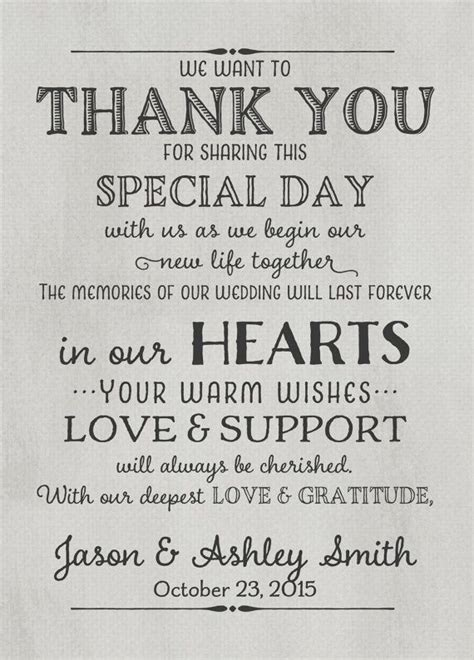 thank you letter to on wedding day wedding thank you card with pre printed thank you message