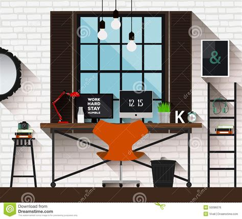 modern home design vector vector flat illustration workplace in loft interior desk