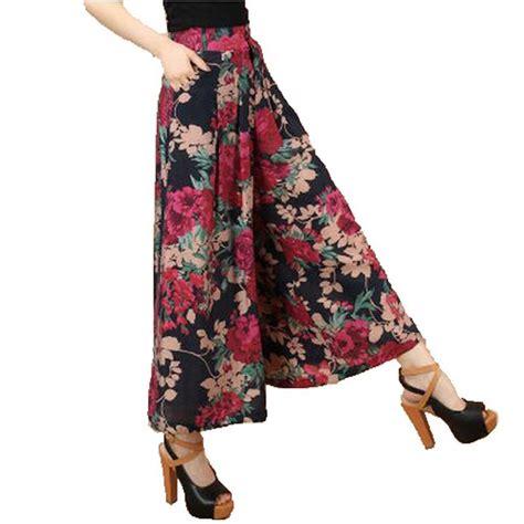 pattern dress pants big plus size summer women printed flower pattern wide leg