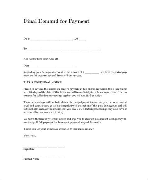 sample demand letter templates ms word