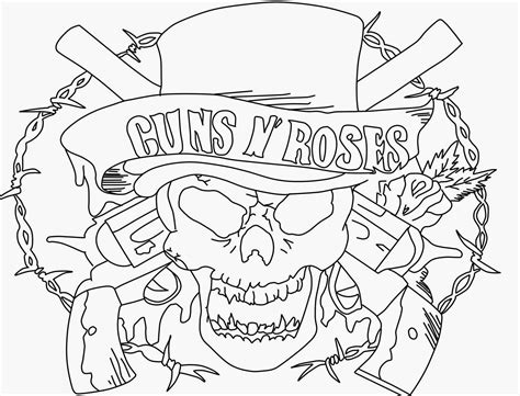 guns and roses coloring page guns and roses logos coloring coloring pages