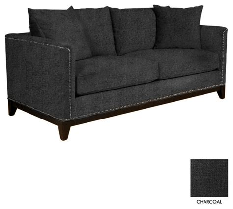 studded sectional la brea studded sofa charcoal contemporary sofas by