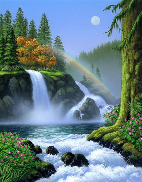 Home Decor At Ross by Waterfall Painting By Jerry Lofaro