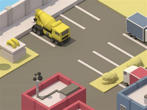 design game c isometric parking lot parking lot low poly and game art