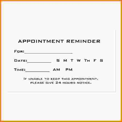 12 appointment cards template letter template word
