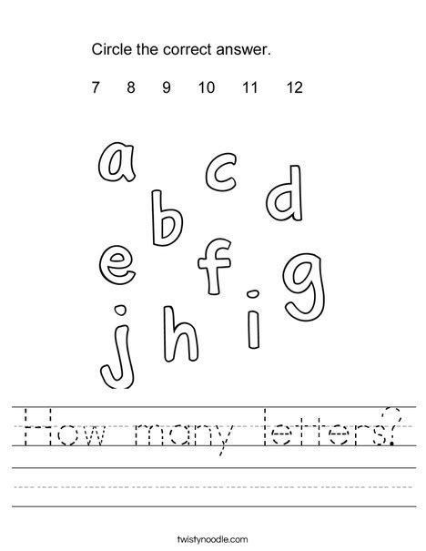Letters In How Many How Many Letters Worksheet Twisty Noodle