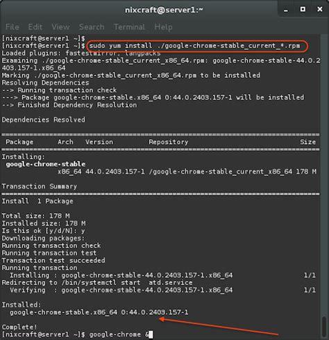 linux tutorial yum how to install google chrome 52 on a rhel centos 7 and
