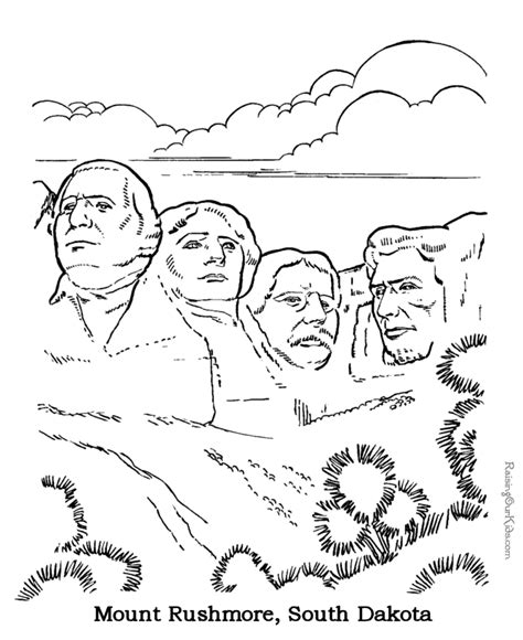 coloring page for mount rushmore mount rushmore coloring pages 004