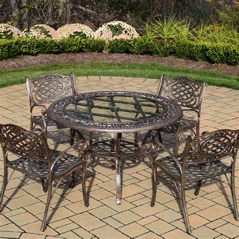 Cast Aluminum Patio Table And Chairs Oakland Living Mississippi 5pc Cast Aluminum Patio Dining Set With 48 Quot Table And 4 Arm