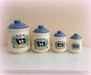 Cute Kitchen Canisters by Cute Cow Canisters Vintage Moo Cows White And Blue Made
