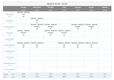 The Free Work Schedule Template For Excel Ximble Creating A Work Schedule Template