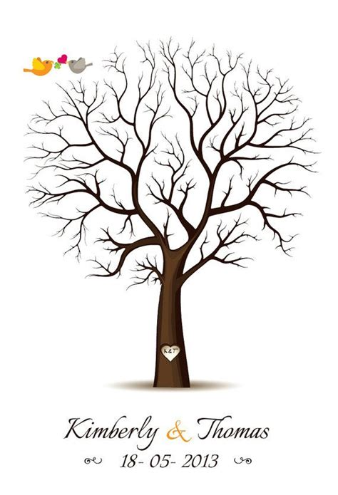 guestbook tree template fingerprint guest book template fingerprint tree