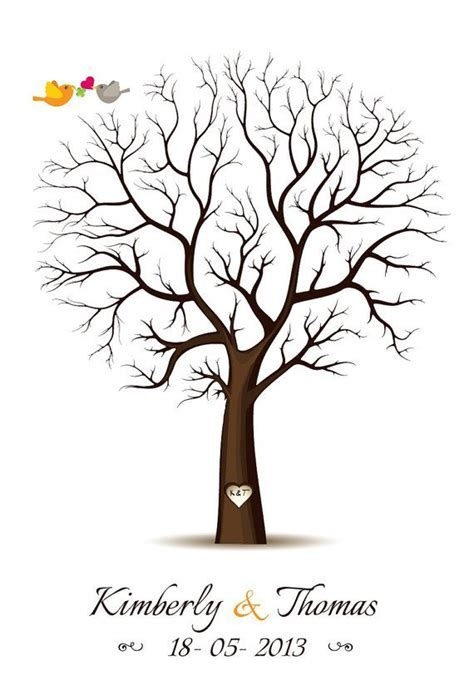 Fingerprint Guest Book Template   fingerprint tree template free   Amy Peach Tree   Pinterest