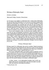 Teaching Essay by Writing A Philosophy Paper H Spader Teaching Philosophy Philosophy Documentation Center