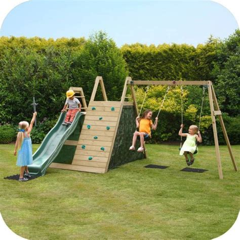 outdoor swing slide sets kids wooden playground w swings slide climb wall buy