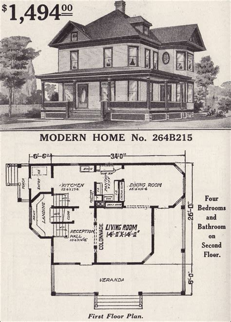 sears floor plans 1916 sears modern home no 264b215 late cross gable wrapped porch