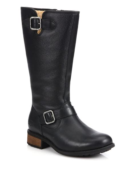 ugg chancery sheepskin leather boots in black lyst