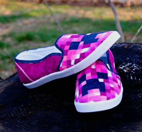 pink canvas painted creeper minecraft shoes by
