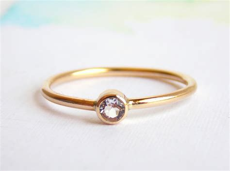 simple white topaz ring 14k gold filled ring white topaz
