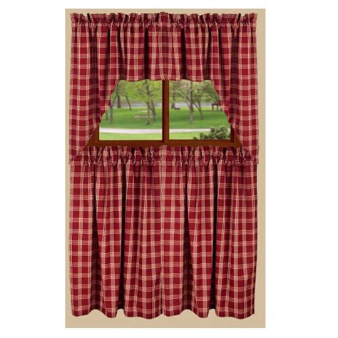 red check curtains middletown check tier curtain barn red