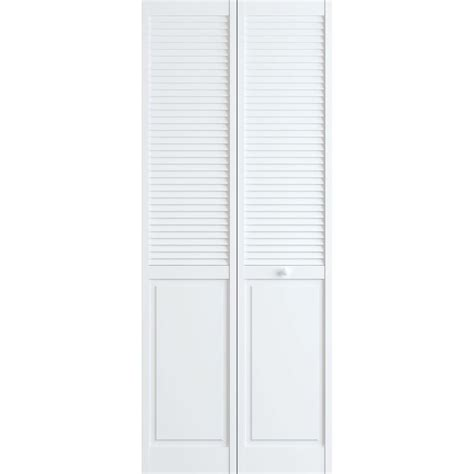 Bi Fold Louvered Closet Doors Frameport 30 In X 80 In Louver Panel Pine White Interior Closet Bi Fold Door 3115127 The