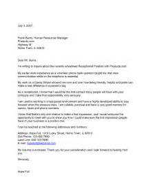 Office Receptionist Cover Letter by Office Receptionist Cover Letter