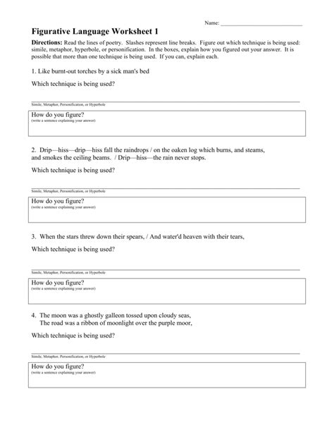 Figurative Language Review Worksheet by Collection Of Identifying Figurative Language Worksheet