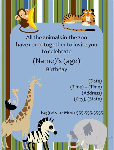 printable zoo animal invitations zoo animal birthday party invitation template