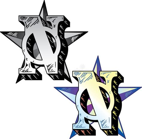 stile lettere per tatuaggi lettera n di stile tatuaggio illustrazione vettoriale