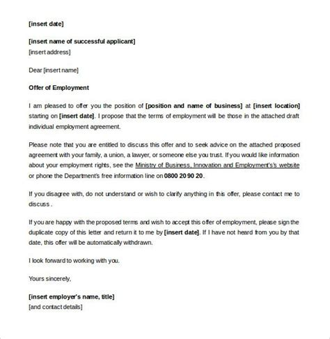 relevant collective agreement appointment letter