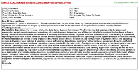 Data Center Administrator Cover Letter by Cover Letter For Data Center Manager Cover Letter Templates