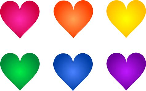 colored hearts colorful rainbow symbols free clip