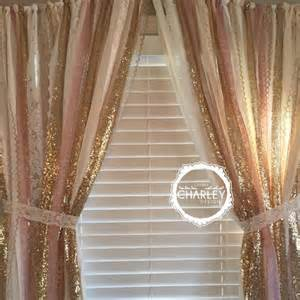 Gold And Pink Curtains Pink Gold Sparkle Sequin Garland Curtain With Lace Nursery Decor Curtain Crib Garland
