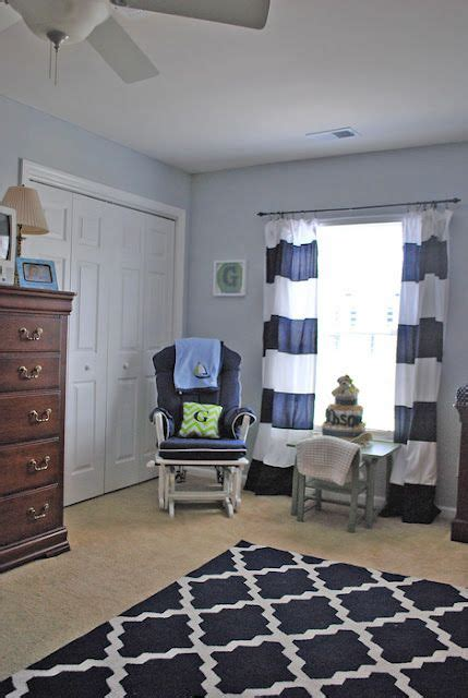 Navy Blue Curtains For Nursery Gray Walls White Curtains With Navy Stripes Sewed On Blue Rug On Overstock For The Home